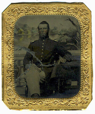 Tintype – Civil War – 1/6 Pl. Union Officer Identified