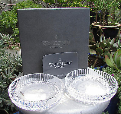 Pair Waterford Crystal Alana Dishes Bottle Coasters Kangaroo Paw Boxed