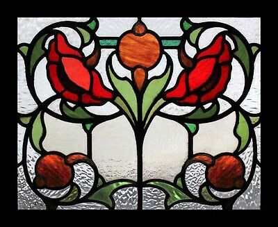 Splendid Rare Art Nouveau Flowers English Antique Stained Glass Window