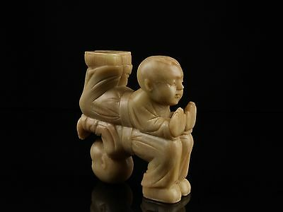 An Unusual Antique Chinese Carved Soapstone Child Figure Group.