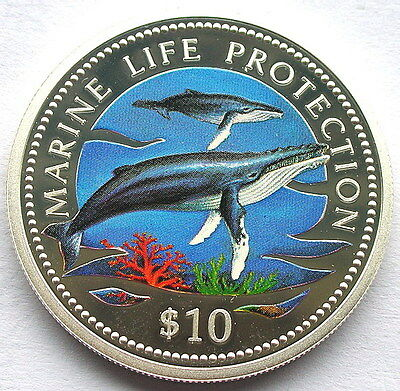 Namibia 1998 Whale 10 Dollars Colour Silver Coin,Proof