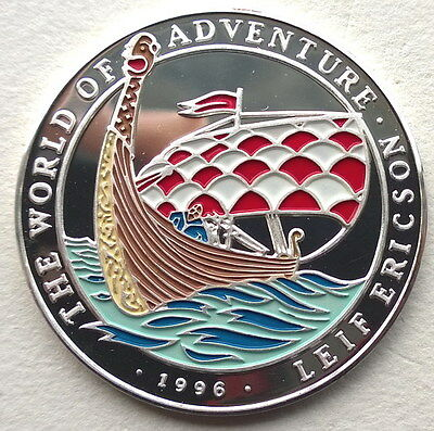 Laos 1996 Viking Longship 50 Kip Colour Silver Coin,Proof