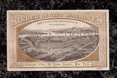 1878 Picture Factory Buildings Elizabeth NJ Singer Sewing Machine Co Trade Card