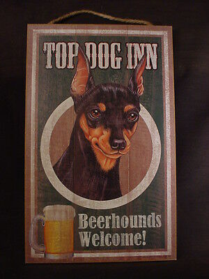 TOP DOG INN Beerhound MIN PIN Welcome 10 x 16 BEER HOUND bar SIGN wood PLAQUE