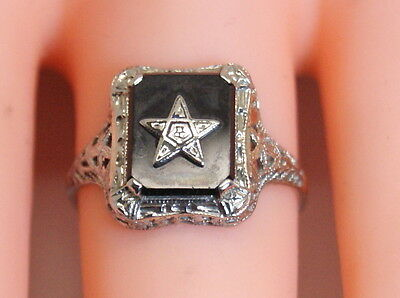 Beautiful Antique 14K White Gold Filigree Order of the Eastern Star Ring