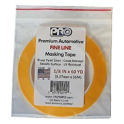 """PRO Tapes Premium Automotive FINE LINE Masking Tape 1/8 IN x 60 YDS on 3"""" Core;"""