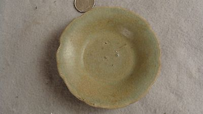 Antique Chinese Ming Dynasty Small Celadon Glazed Pottery Dish Bowl
