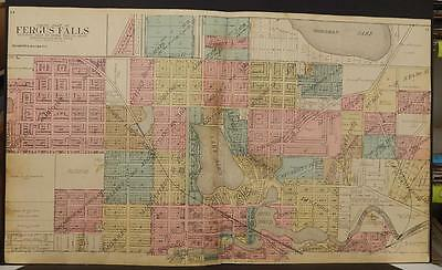 Minnesota State Map Otter Tail County Map Fergus Falls  1912  2-Dbl Page  K12#48