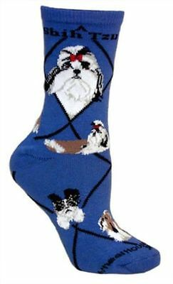 Adult Size Medium SHIH TZU Adult Socks/Blue Made in USA