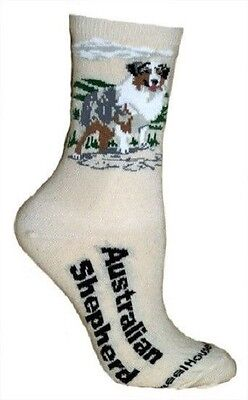 Adult Size Medium AUSTRALIAN SHEPHERD Adult Socks/Natural Made in USA