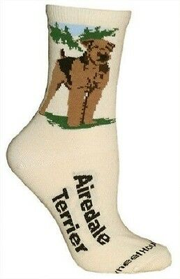 Adult Size Medium AIREDALE TERRIER Adult Socks/Natural Made in USA