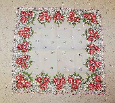 Vintage Flowered Hankie-Red Roses-Scalloped Edge-New Unused 14 Inches Square (S)