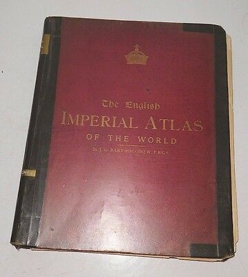 Antique 1890's J.G. Bartholomew The English Imperial Atlas of the World