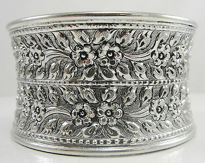"""Sterling 1.5"""" Wide Cuff Bracelet Repousse Hammered Floral Beads Design 7 1/8"""""""