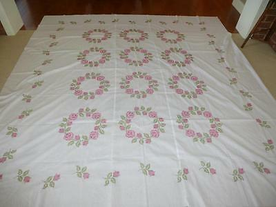 Vintage Completed Bucilla CROSS STITCH QUILT TOP Pink Rose Rings No 1503 Double