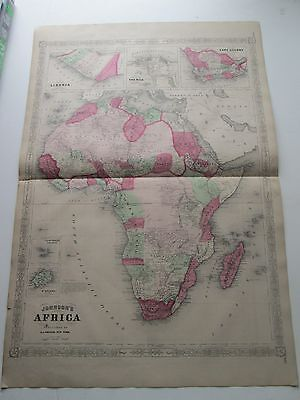1864 AFRICA ANTIQUE MAP, from 1868 A.J. JOHNSON ATLAS. LIBERIA, NILE, CAPECOLONY