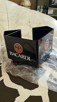 New Bacardi Rum Bat Logo Napkin Holder Swizzle Stick Straw Caddy