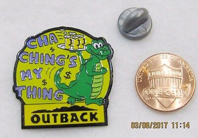 Outback Steakhouse Cha Chings My Thing Alligator Crocod Lapel Pin Pinback Travel