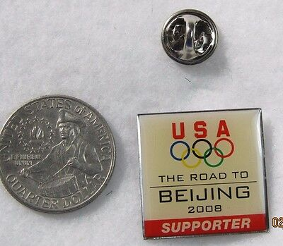 USA The Road to Beijing  2008 Supporter Olympics Lapel Pin Pinback Hat