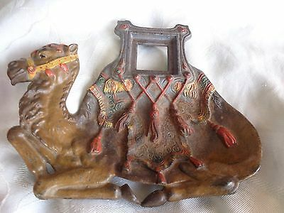 VINTAGE 19thC VICTORIAN COLD PAINTED CAMEL CAST IRON INKWELL STAND OLD ESTATE