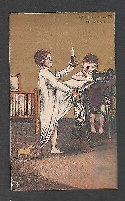 Victorian Trade Card Singer Obelisk Sewing Night Gown
