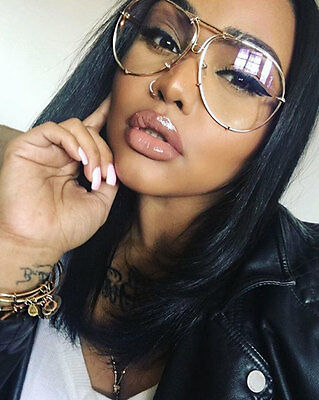 Oversized Gold Metal Frame Aviator Eyeglasses Clear Lens Designer Women Glasses