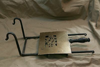 Antique Free Stenciled Brass rat tail Iron Metal Fireplace Trivet Dog Hanger