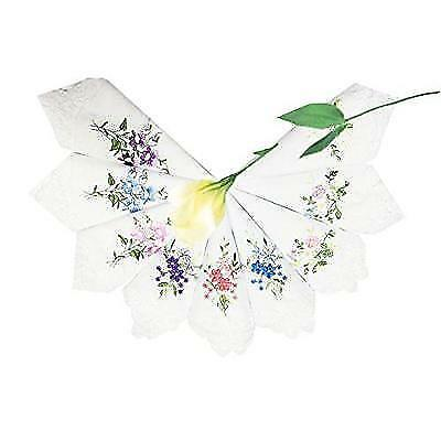 LACS Womens Embroidered Floral Cotton Lace Handkerchiefs White Hankies Pack New