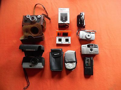 Lot 8 vintage cameras slides electric flash  recorders+, Argus Sears Canon Vivit