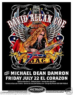 DAVID ALLAN COE 2011 SEATTLE CONCERT TOUR POSTER - Outlaw Country Rock Music