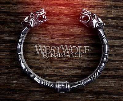 Silver Viking Odin's Wolves Bracelet - Norse/Wolf/Pewter/Jewelry/Tiger/Cat/Torc