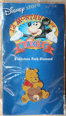 Winnie The Pooh Disney Birthstone Diamond Collectible Pinback Pin Button