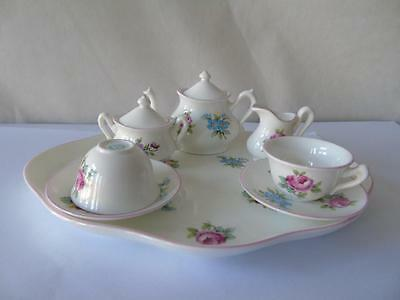 Rare Crown Staffordshire Floral Bouquet Pink Miniature Tea Coffee Set & Tray