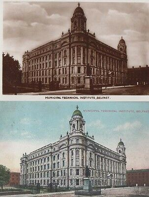 Municipal Technical College Belfast 2x Antique Irish Postcard incl Real Photo