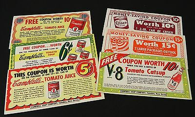 Vintage Grocery Coupons 1949 Advertising Lot of 6 Campbell's & Procter Gamble