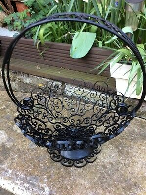 A Vintage Wrought Iron Metal Scroll Filigree Ornate Basket / Bowl #d