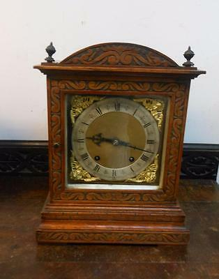 carved oak winterhalder & hoffmeir ting tang bracket clock c1900s