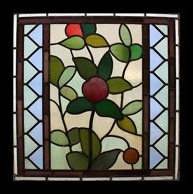Stunning Art Nouveau Antique English Leaf & Fruits  Stained Glass Window