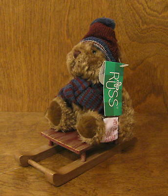 """Russ Berrie #4671-1 SLEDS maroon hat, 6.5"""" bear on sled NEW from Retail Store"""