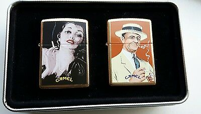"""Camel Zippo Set """" Lady & Gent, The Couple """" Limited Edition In Original Tin Z344"""