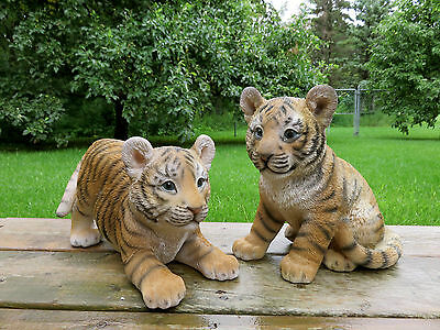 2 TIGER FIGURINES PLAYING STATUE 12 in. AFRICAN ANIMAL JUNGLE HOME DECOR CAT NEW
