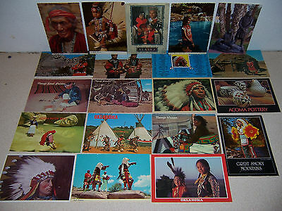 1970s-90s VTG NATIVE AMERICAN INDIAN POSTCARD LOT of 20 DIFF - MOST UNUSED
