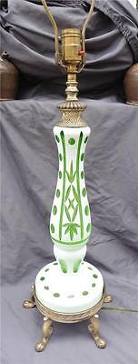 Vintage Bohemian Cased Glass Cameo Cut To Green Table Lamp