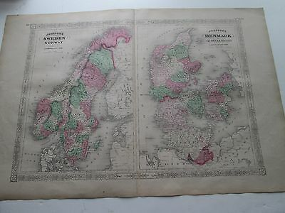 1865 Sweden, Norway, Denmark,  Antique Map, 1868 A.j. Johnson Atlas.