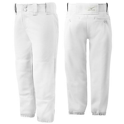 Mizuno Youth Girl's Belted Fastpitch Softball Pant - White - Small