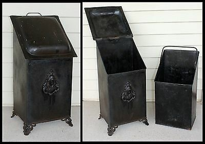 Antique Victorian Lady's Head Lion Foot Coal Scuttle Bin Fireplace Hod w Liner