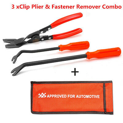3X Car Door Card Panel Trim Clip Removal Pliers+Upholstery Remover Pry Bar Tool