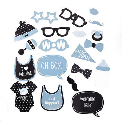20pcs Baby Shower Cute Photo Booth Props Boys 1st Birthday Party Paper Beard NEW