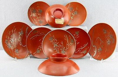 As A Lot 9Pcs Older Hand Painted Lacquered Sauce Bowls Footed Three Sizes Asian
