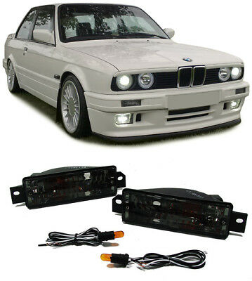 CLEAR GLASS INDICATOR with sidelights BLACK FOR BMW 3ER E30 87-93